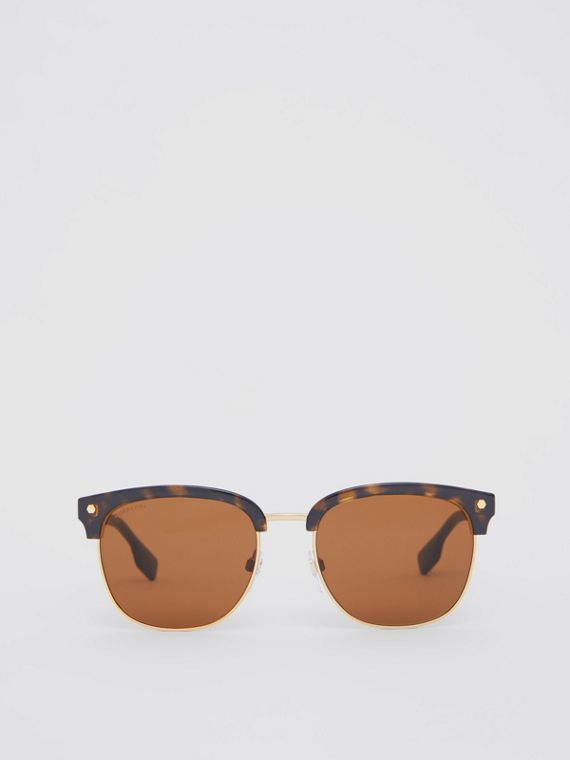 Icon Stripe Detail Square Frame Sunglasses in Tortoiseshell