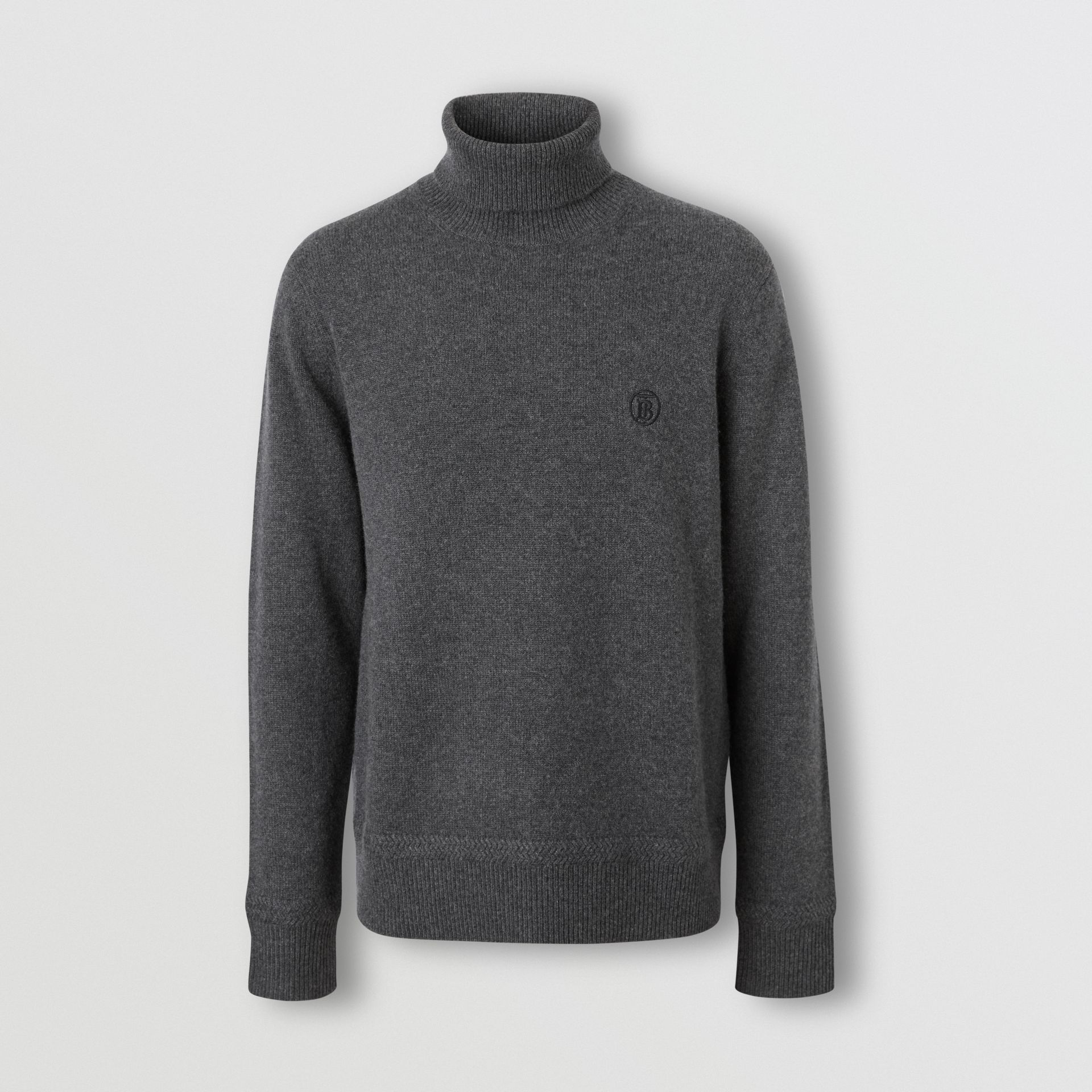 Monogram Motif Cashmere Roll-neck Sweater in Charcoal - Men | Burberry - gallery image 3