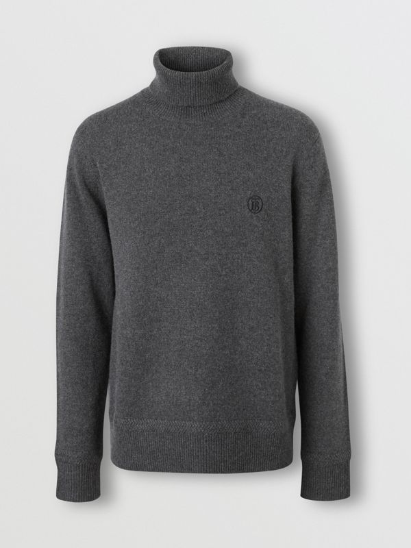 Monogram Motif Cashmere Roll-neck Sweater in Charcoal - Men | Burberry - cell image 3
