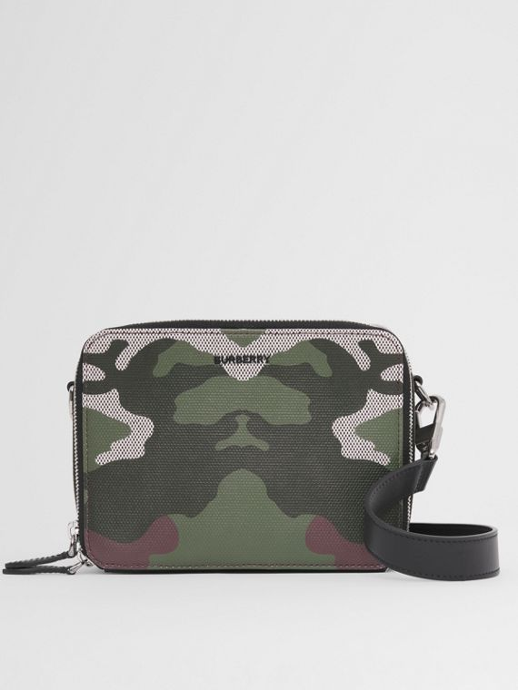 Camouflage Print Canvas and Leather Crossbody Bag in Mangrove Green