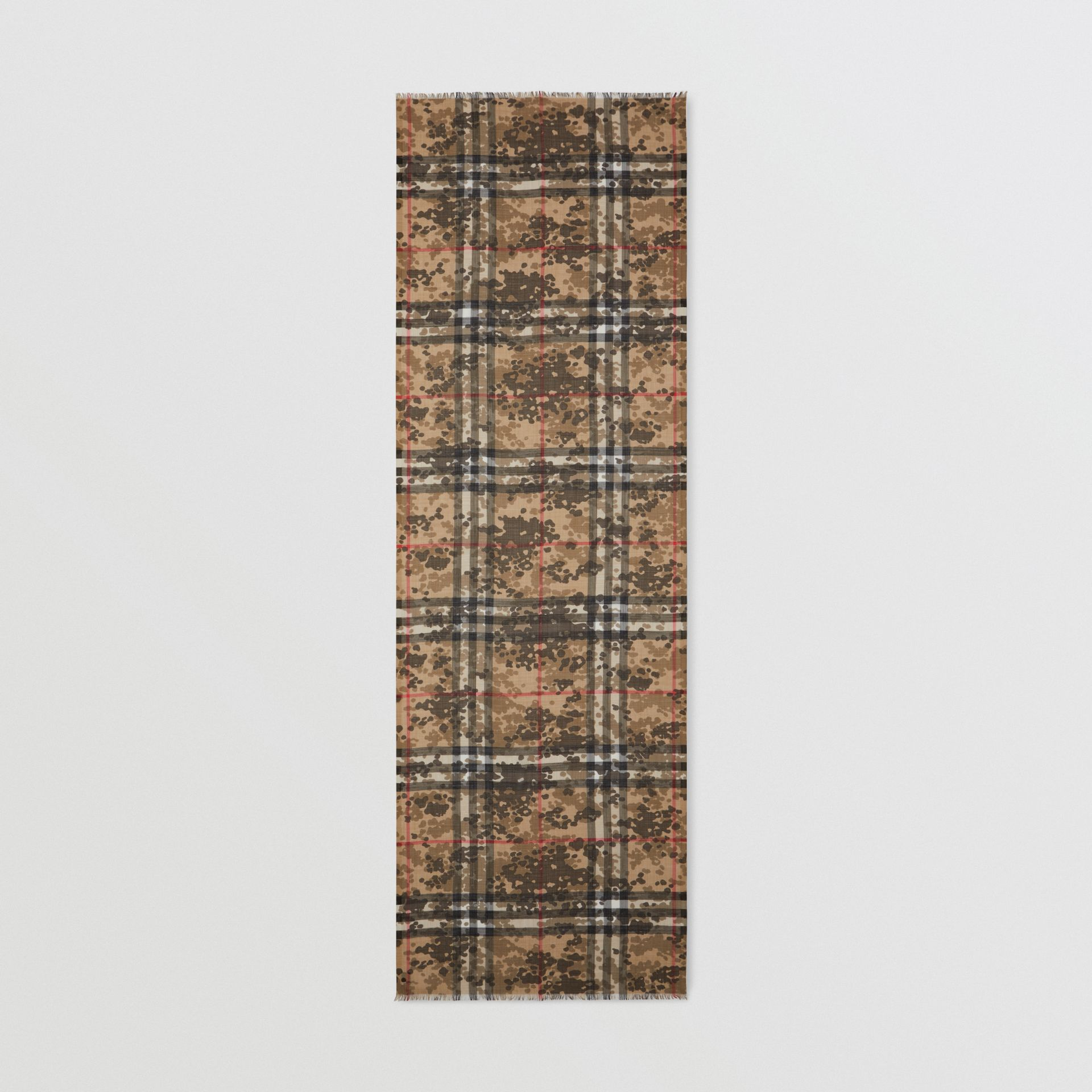 Lightweight Camouflage Check Wool Silk Scarf   Burberry United Kingdom - gallery image 3