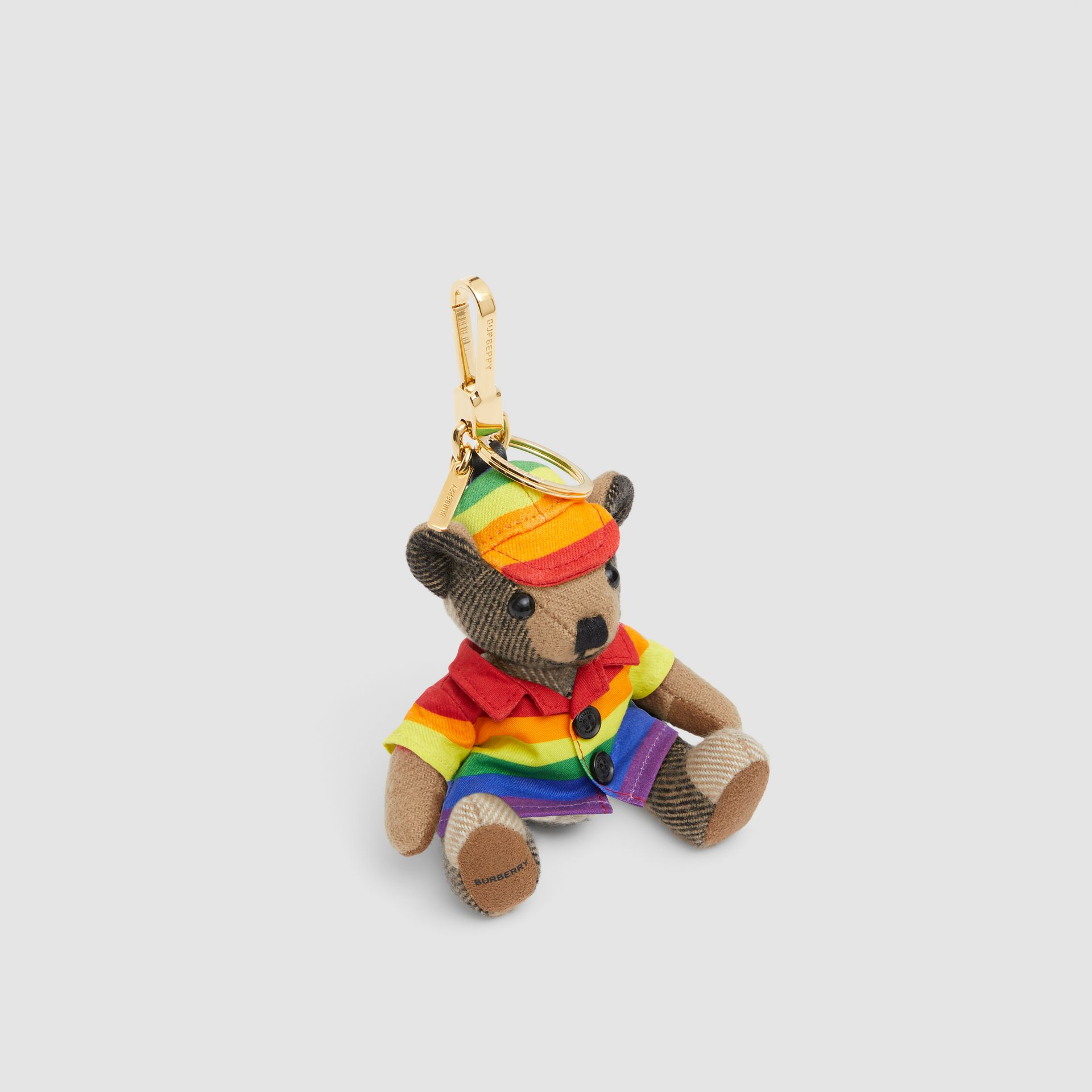 Thomas Bear Charm in Rainbow Coat and Hat in Archive Beige/multicolour   Burberry United Kingdom - gallery image 1