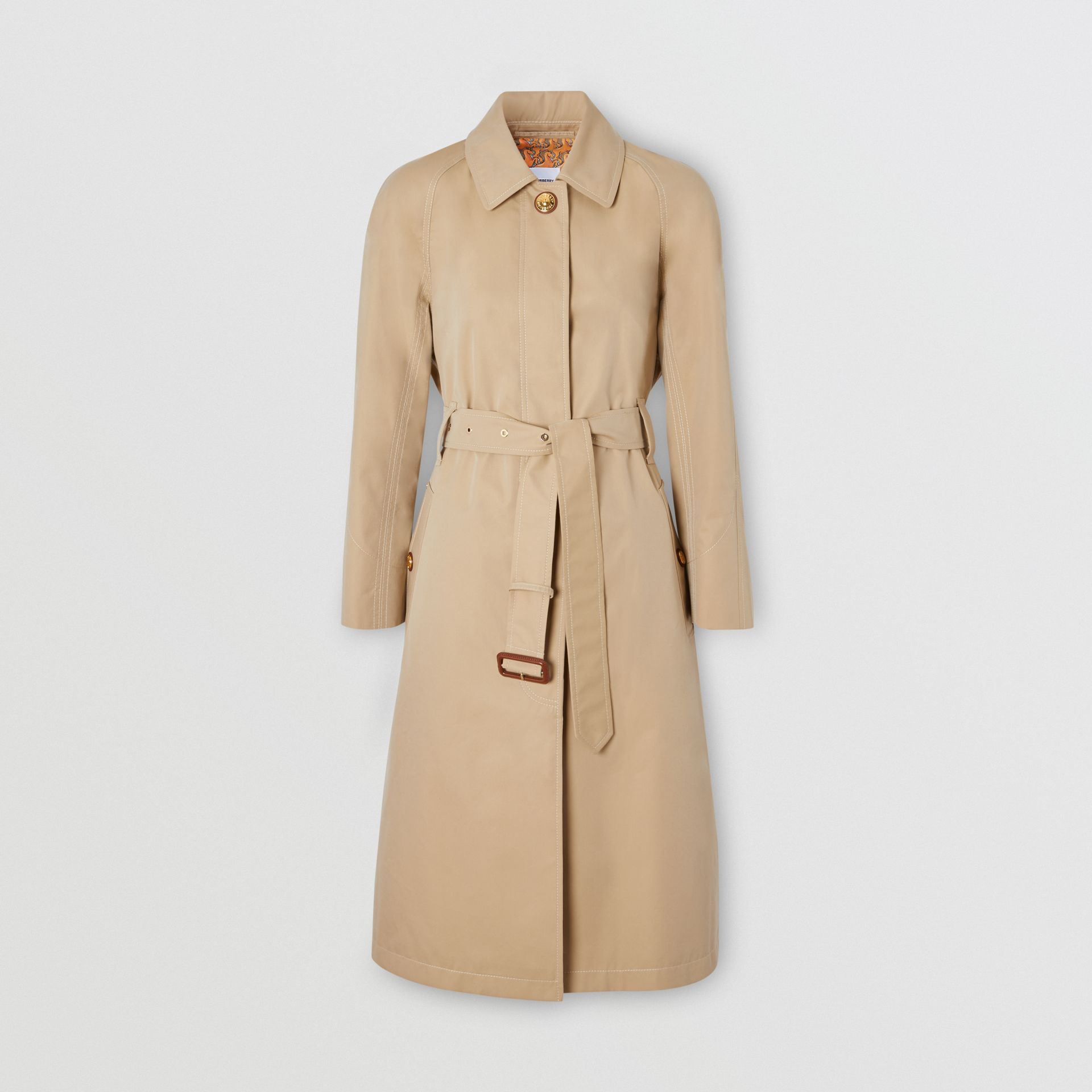 Custom Fit Tropical Gabardine Belted Car Coat in Honey - Women | Burberry - gallery image 0