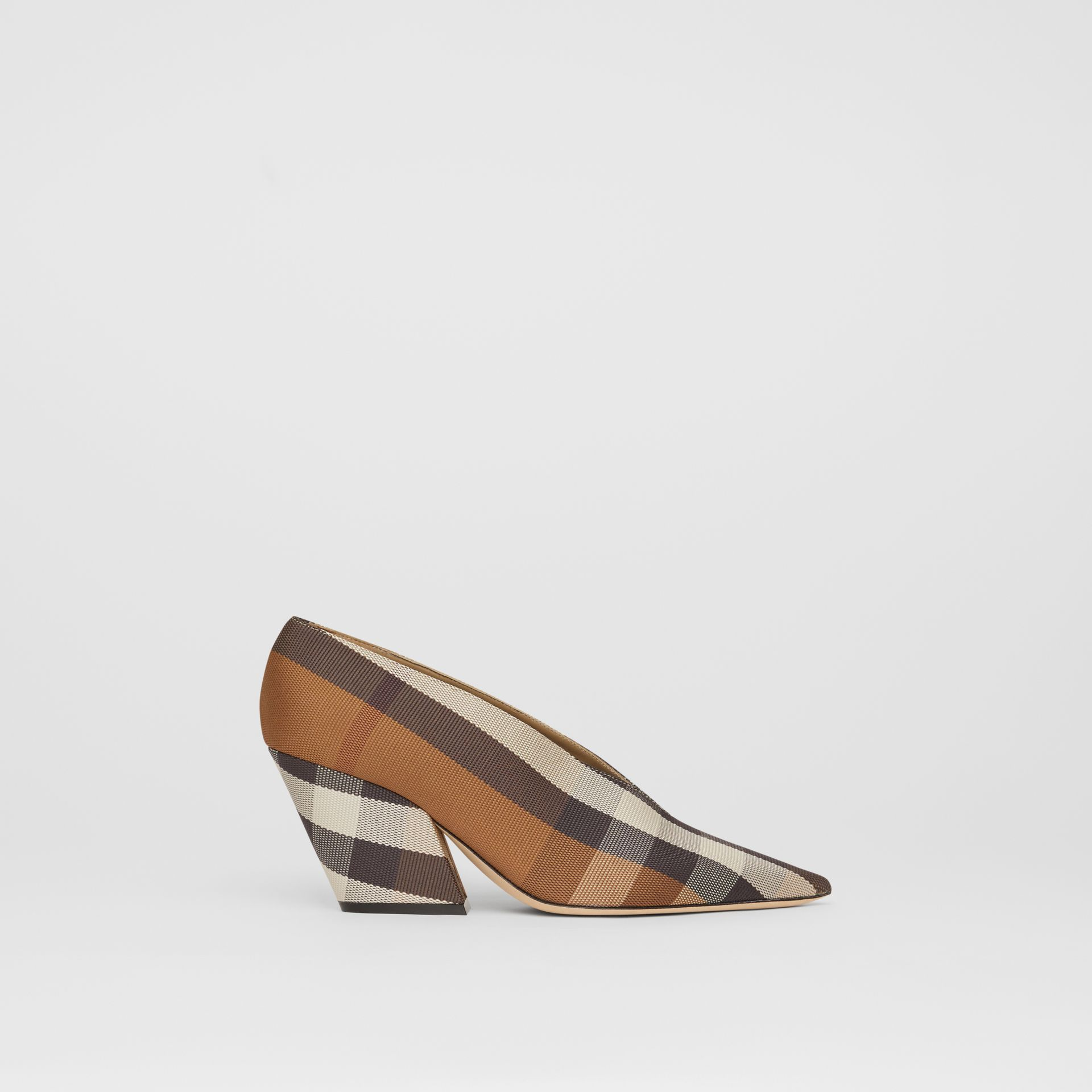 Check Technical Cotton Pumps in Birch Brown - Women | Burberry - gallery image 5