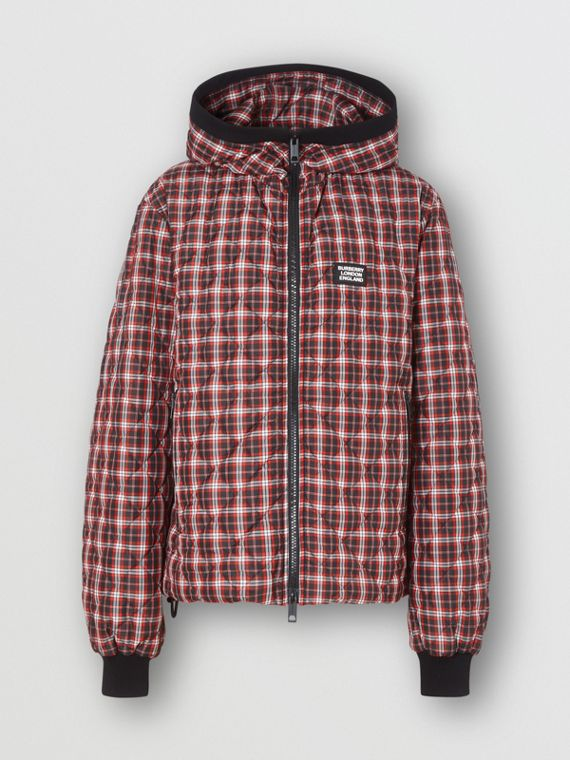 Diamond Quilted Check Hooded Jacket in Bright Red