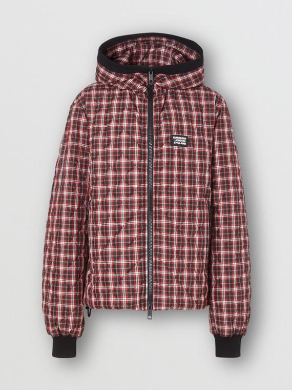 Veste à capuche matelassée check (Rouge Vif)