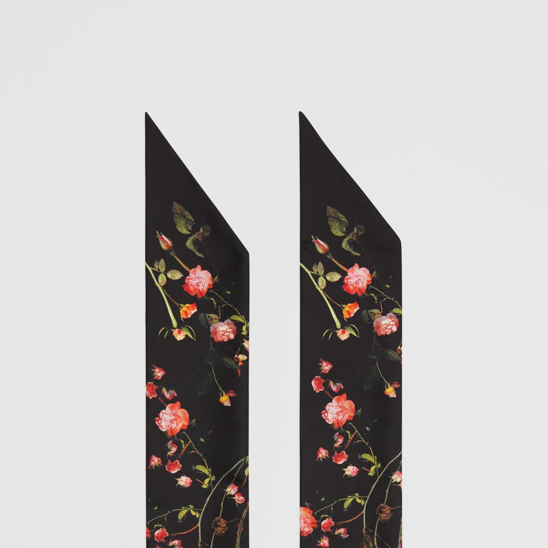 Montage Print Silk Skinny Scarf in Black | Burberry - gallery image 4