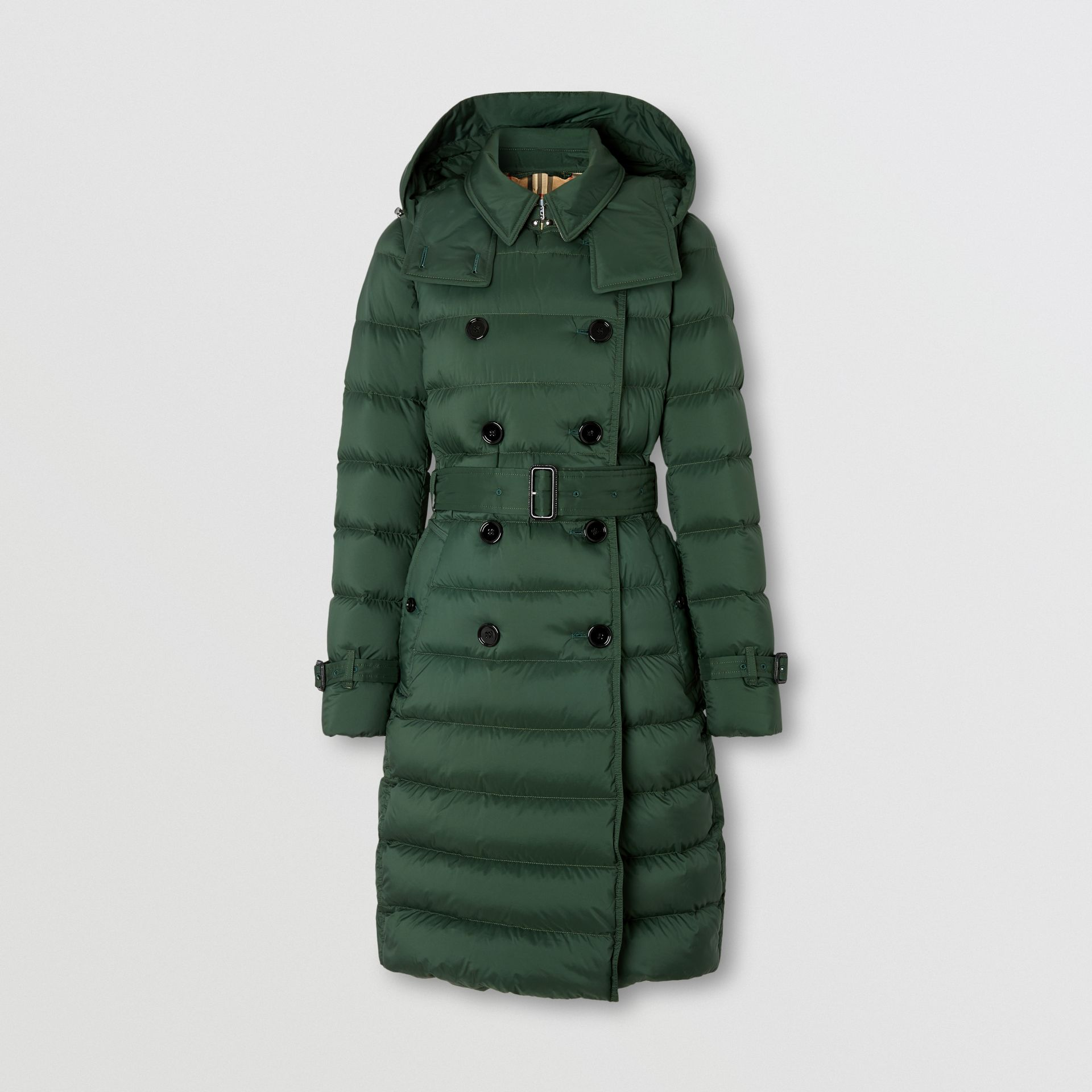 Logo Appliqué Detachable Hood Puffer Coat in Dark Pine Green - Women | Burberry Canada - gallery image 3
