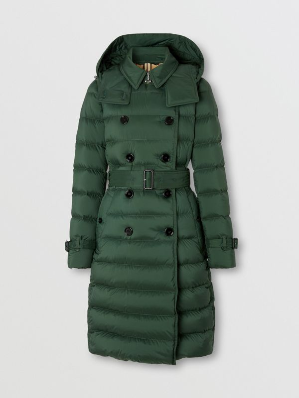 Logo Appliqué Detachable Hood Puffer Coat in Dark Pine Green - Women | Burberry Canada - cell image 3