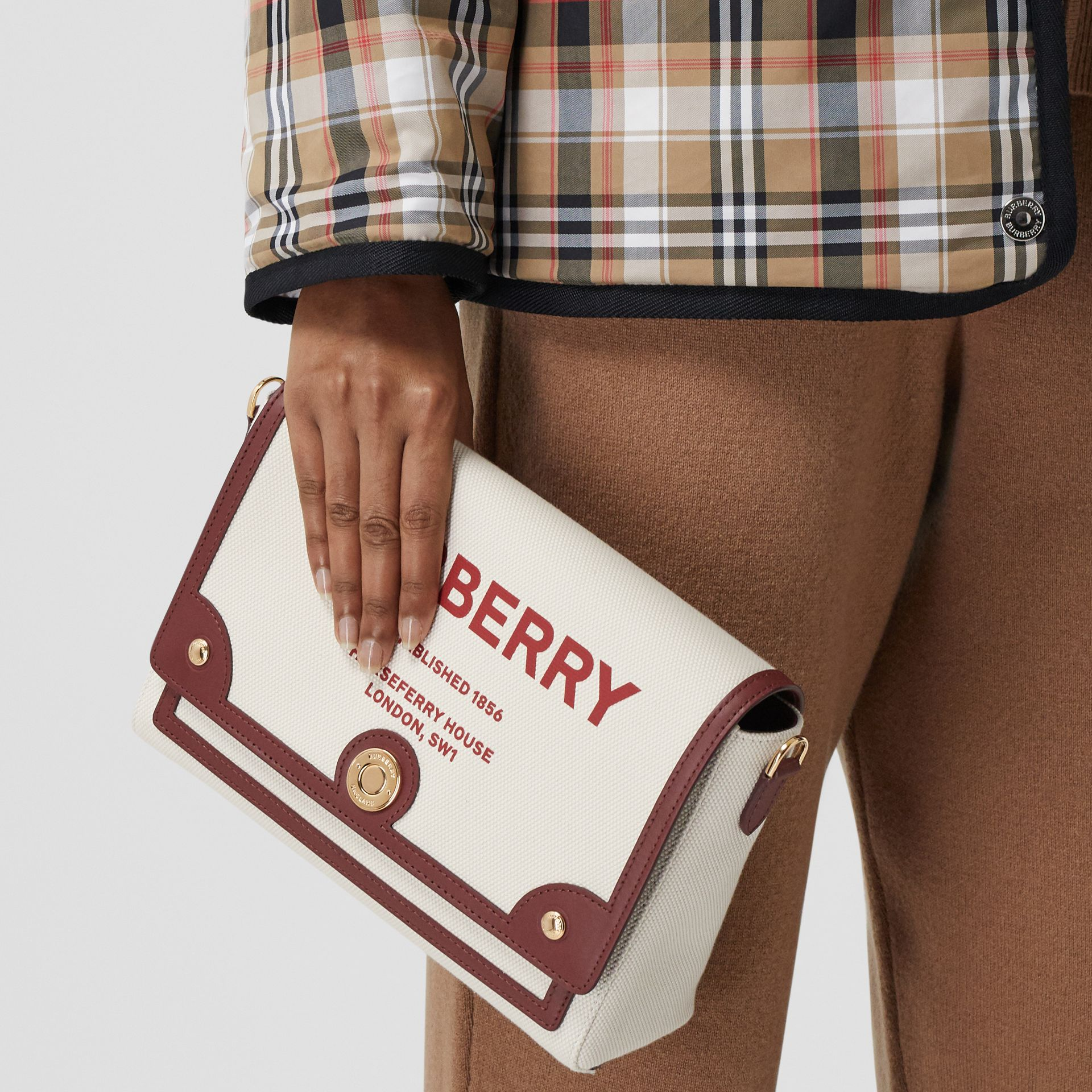 Horseferry Print Canvas Note Crossbody Bag in Natural/garnet - Women | Burberry Canada - gallery image 8