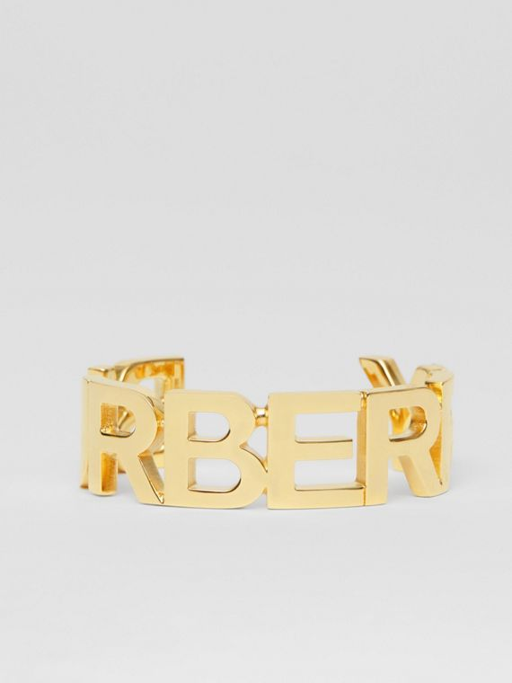 Gold-plated Logo Cuff in Light