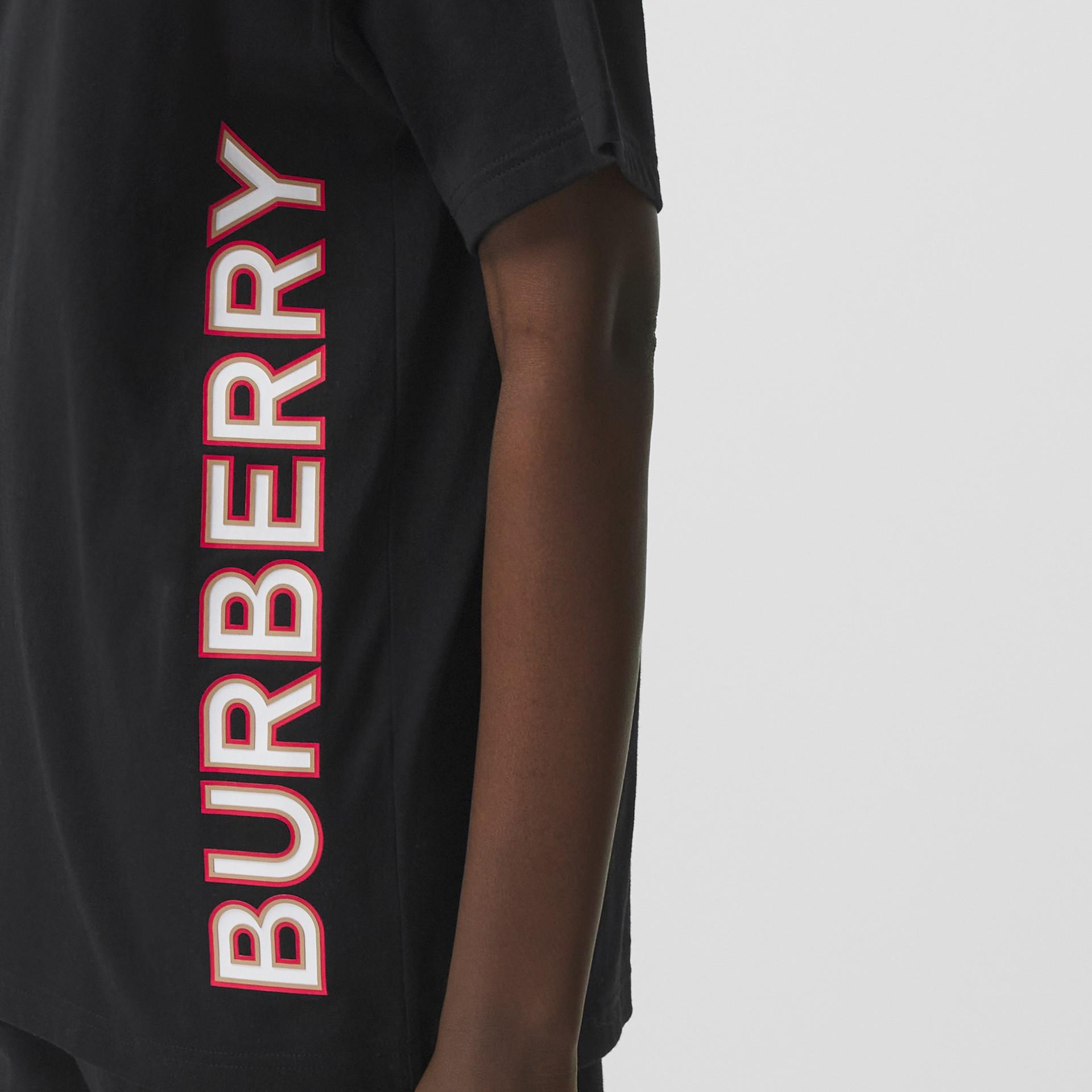 Logo Print Cotton Oversized T-shirt in Black - Women | Burberry - gallery image 1