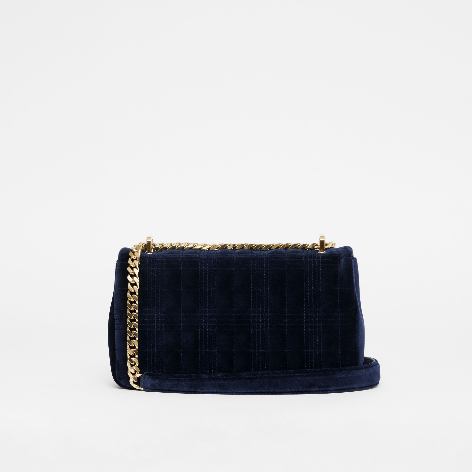 Small Quilted Velvet Lola Bag in Navy - Women | Burberry Australia - gallery image 7