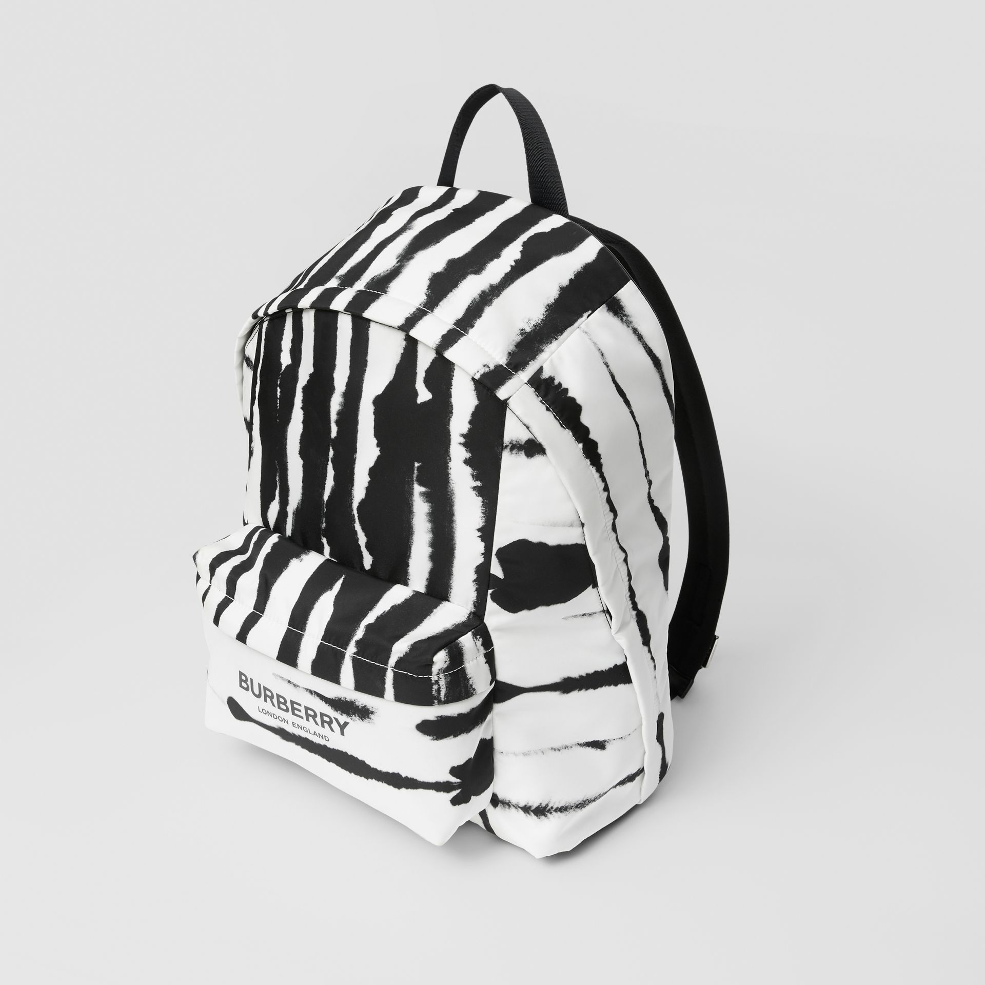 Watercolour Print ECONYL® Backpack in Black/white | Burberry - gallery image 3