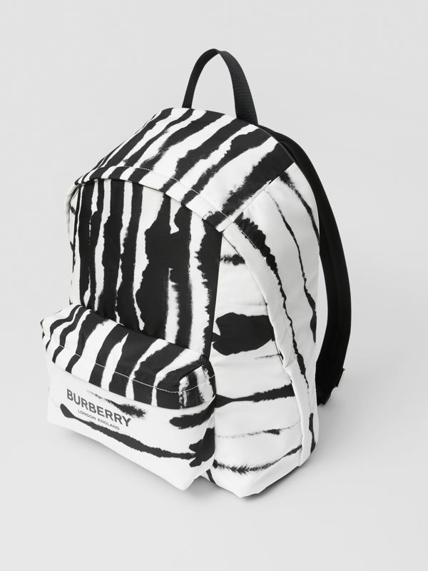 Watercolour Print ECONYL® Backpack in Black/white | Burberry - cell image 3