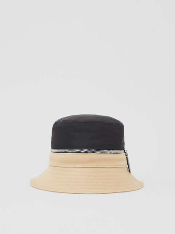 Zip Detail Nylon and Cotton Twill Bucket Hat in Soft Fawn