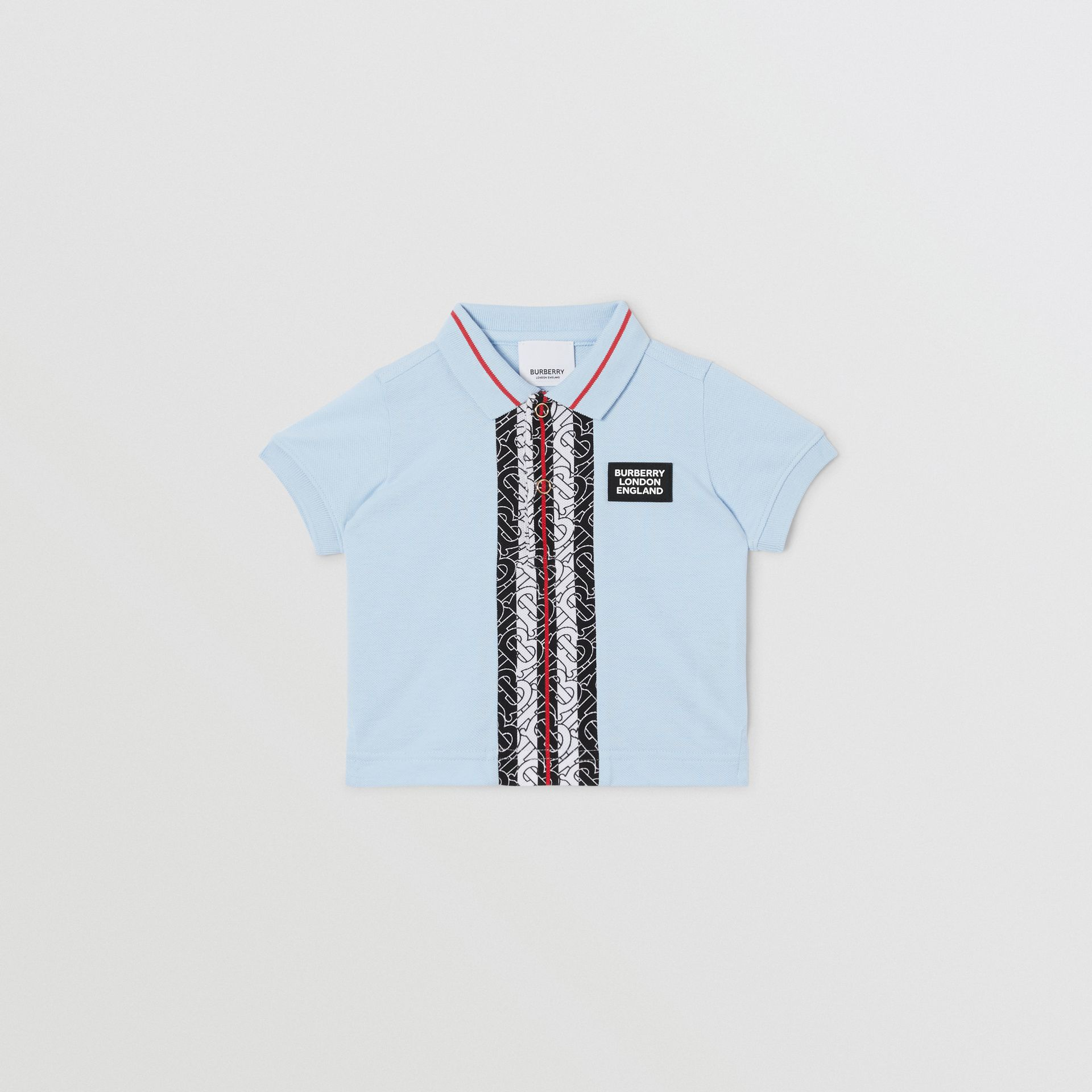 Monogram Stripe Print Cotton Piqué Polo Shirt in Pale Blue - Children | Burberry - gallery image 0