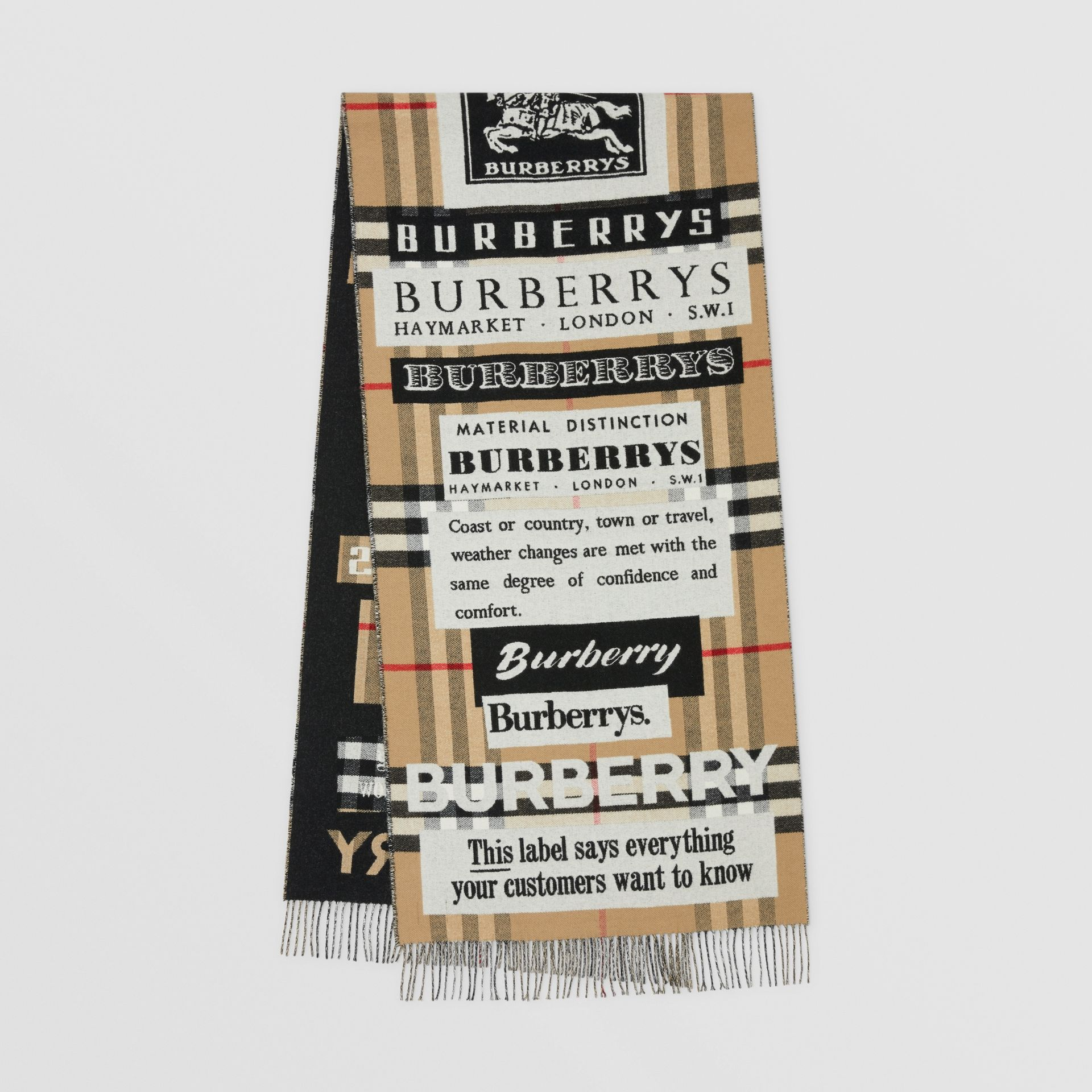 Archive Logo Cashmere Jacquard Scarf in Beige | Burberry - gallery image 0