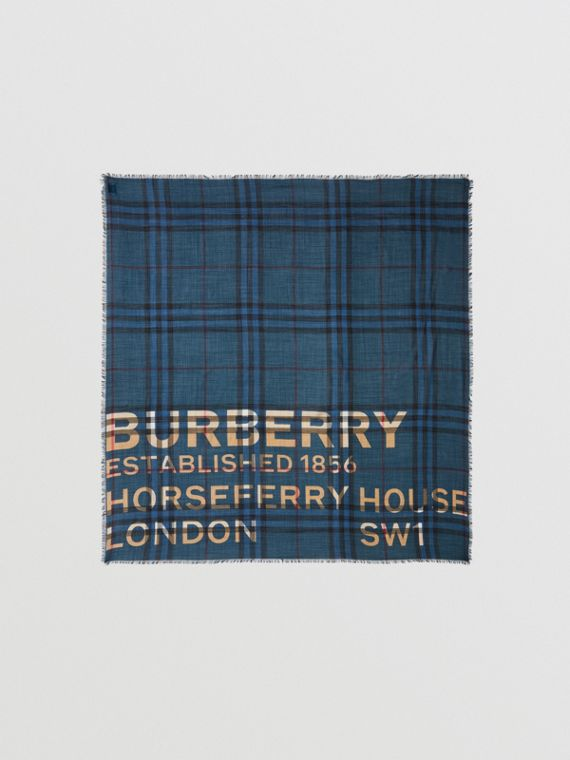 Horseferry Print Check Wool Silk Large Square Scarf in Ink Blue