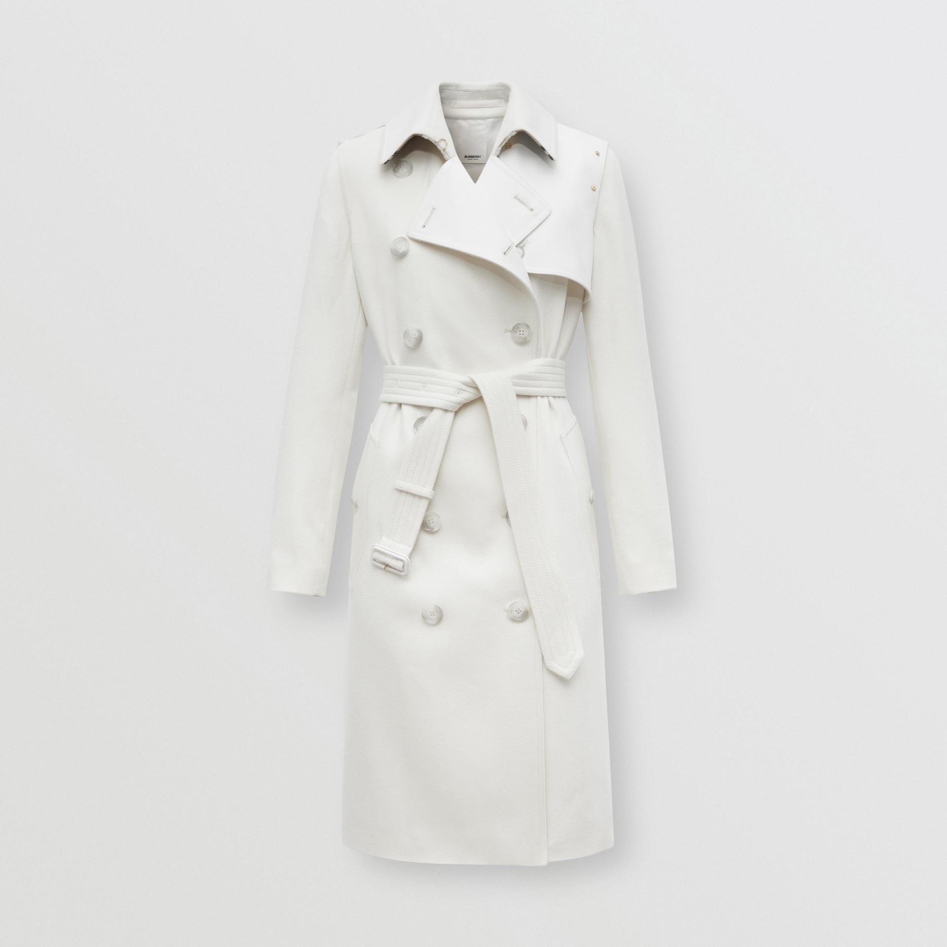 Trench coat in cashmere con pannello in gabardine di cotone (Bianco Naturale) - Donna | Burberry - immagine della galleria 3