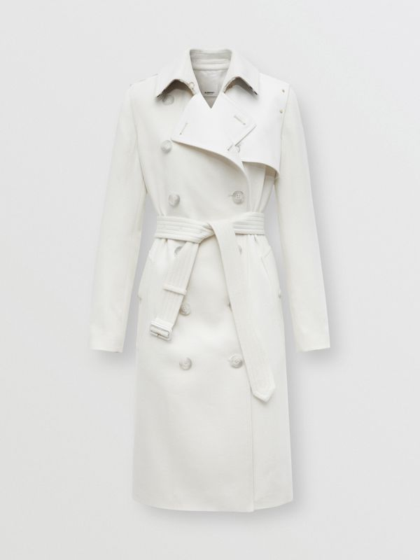 Trench coat in cashmere con pannello in gabardine di cotone (Bianco Naturale) - Donna | Burberry - cell image 3