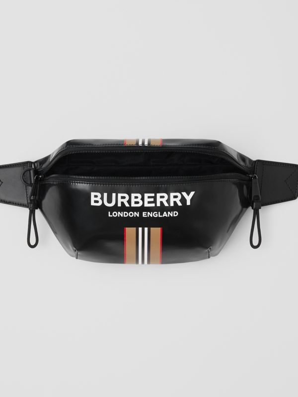 Logo and Icon Stripe Print Sonny Bum Bag in Black - Men | Burberry United Kingdom - cell image 3