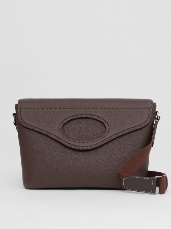 Grainy Leather Pocket Messenger Bag in Dark Clay Brown