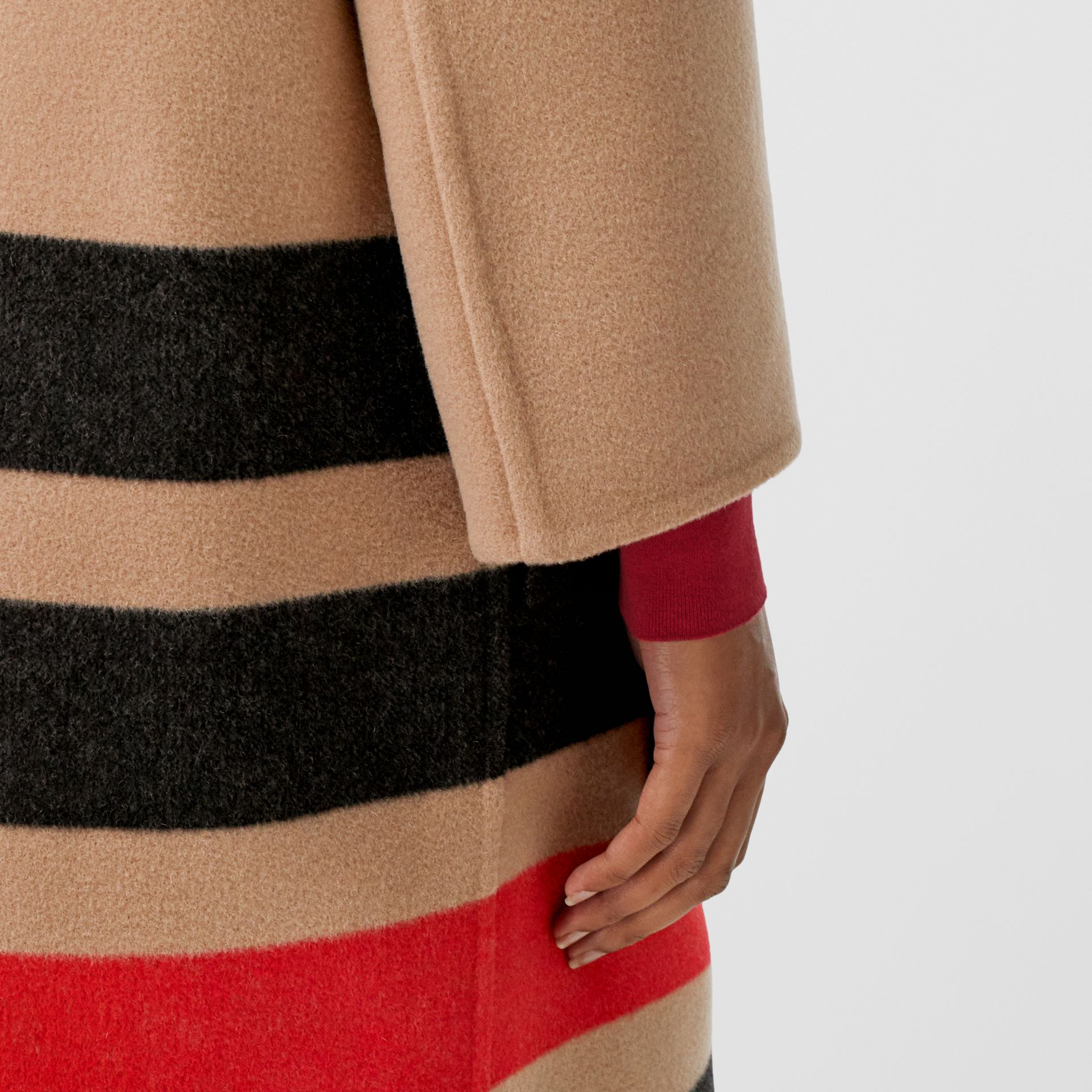 Stripe Detail Double-faced Wool Coat in Light Camel - Women | Burberry - gallery image 4