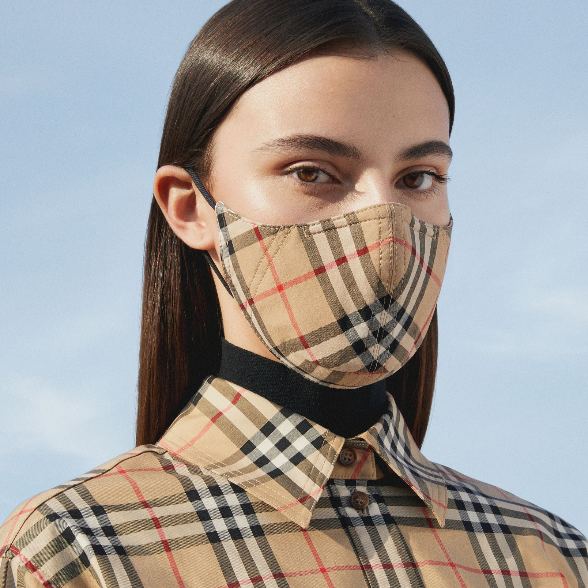 Vintage Check Cotton Face Mask in Archive Beige - Women | Burberry - gallery image 6