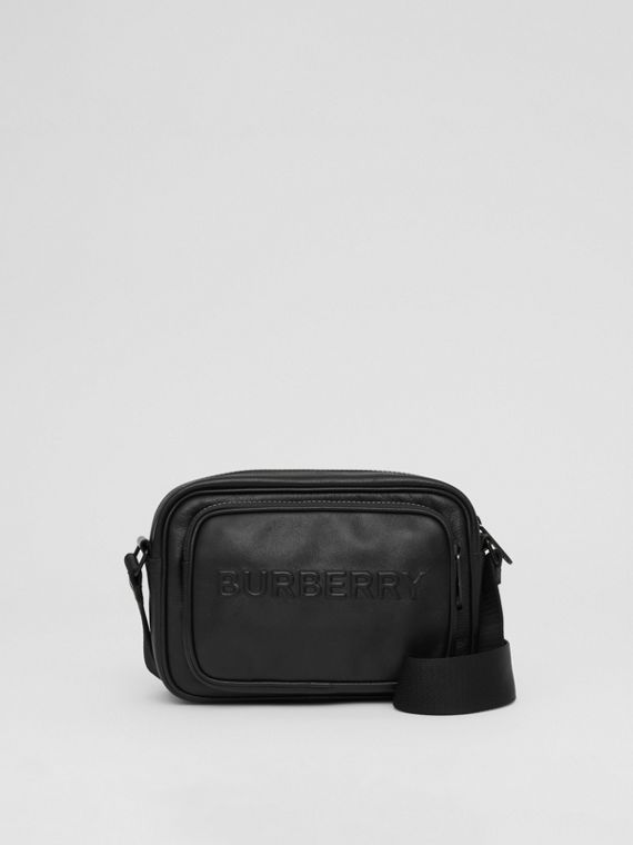 Debossed Logo Leather Crossbody Bag in Black