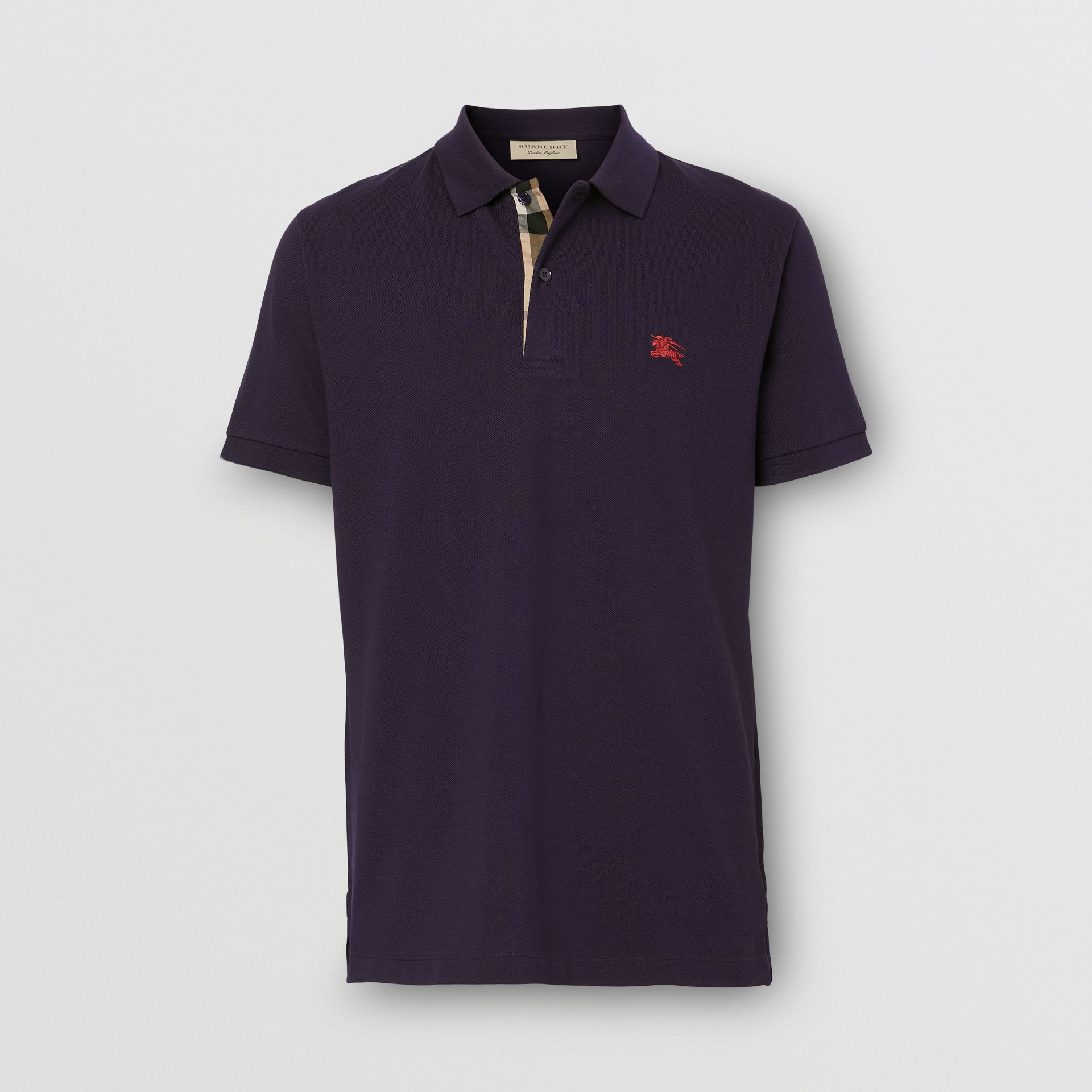 Check Placket Cotton Piqué Polo Shirt in Regency Purple - Men | Burberry Hong Kong S.A.R. - gallery image 0