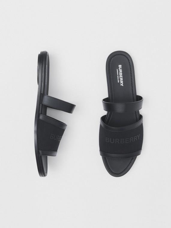 Sandálias de couro e lona com estampa de logotipo (Preto)