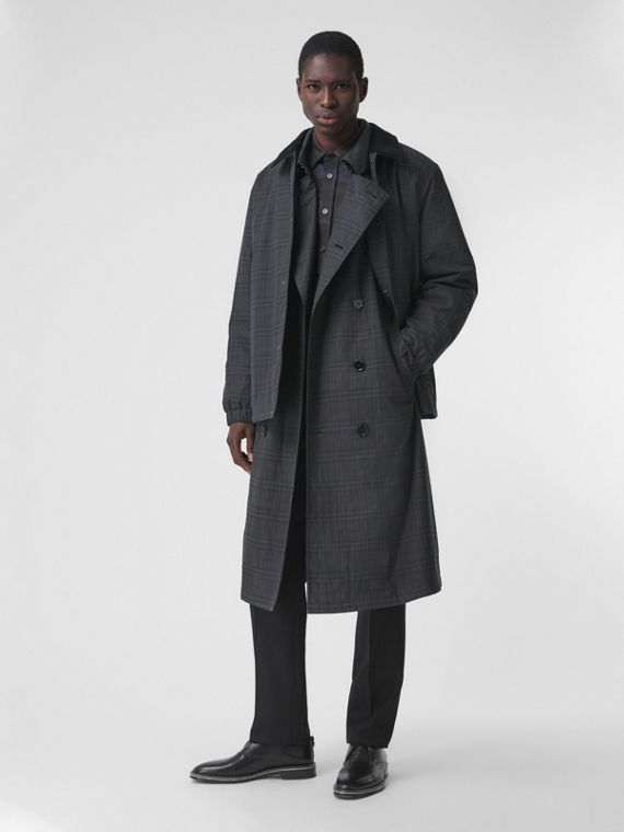 Corduroy Collar Check Coated Cotton Jacket in Dark Charcoal