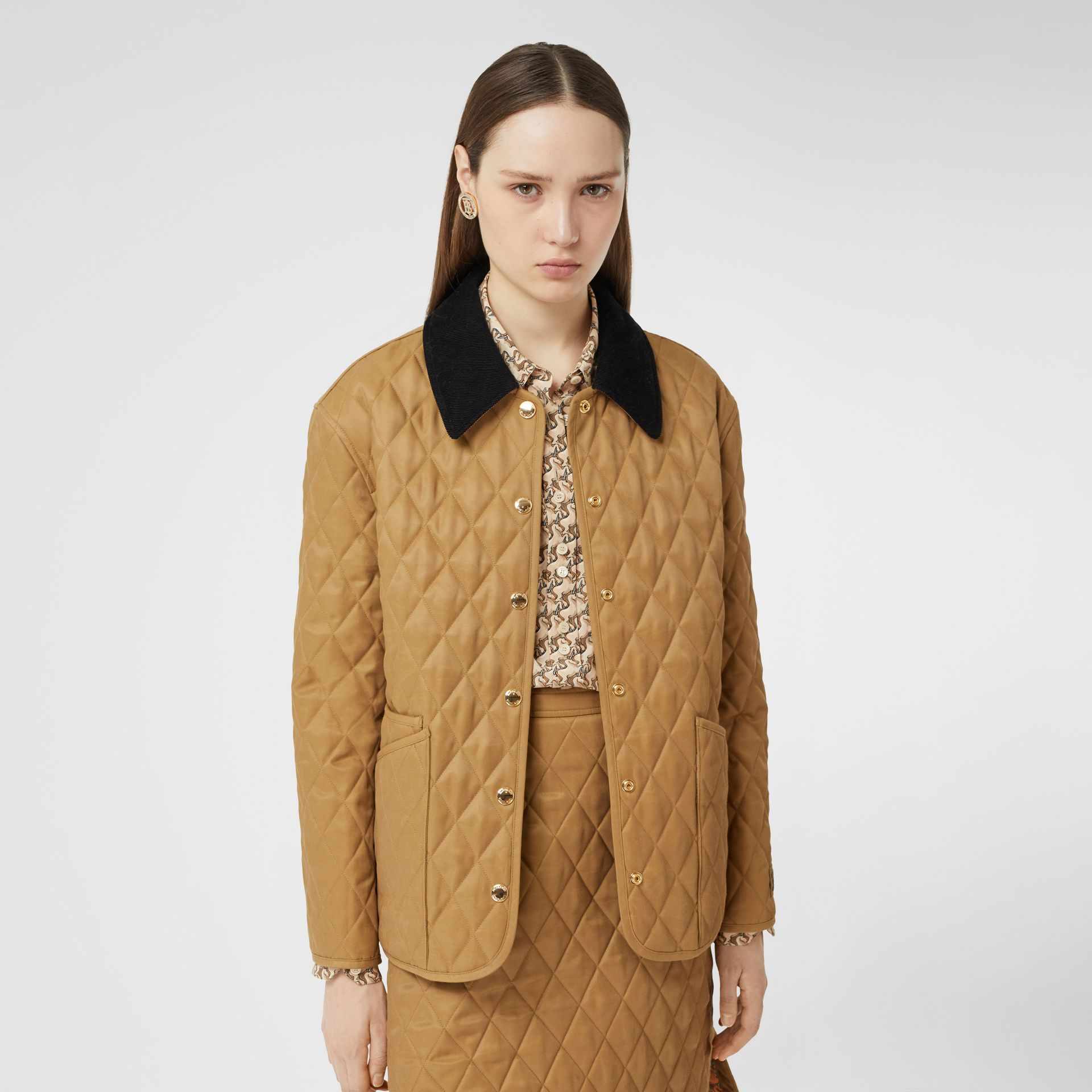 Corduroy Collar Diamond Quilted Jacket in Camel - Women | Burberry - gallery image 6