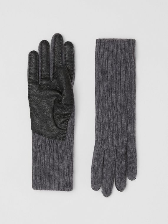 Cashmere-lined Merino Wool and Deerskin Gloves in Grey Melange