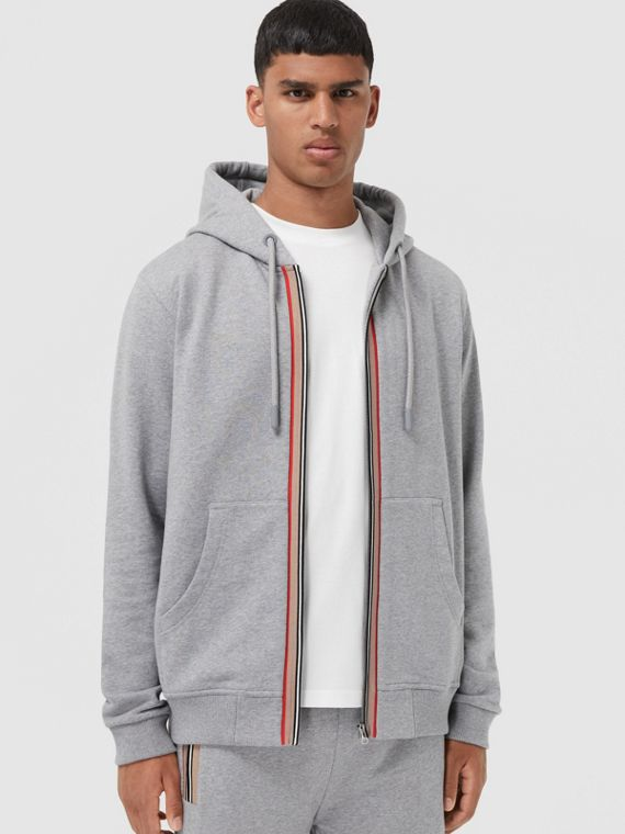 Icon Stripe Detail Cotton Hooded Top in Pale Grey Melange