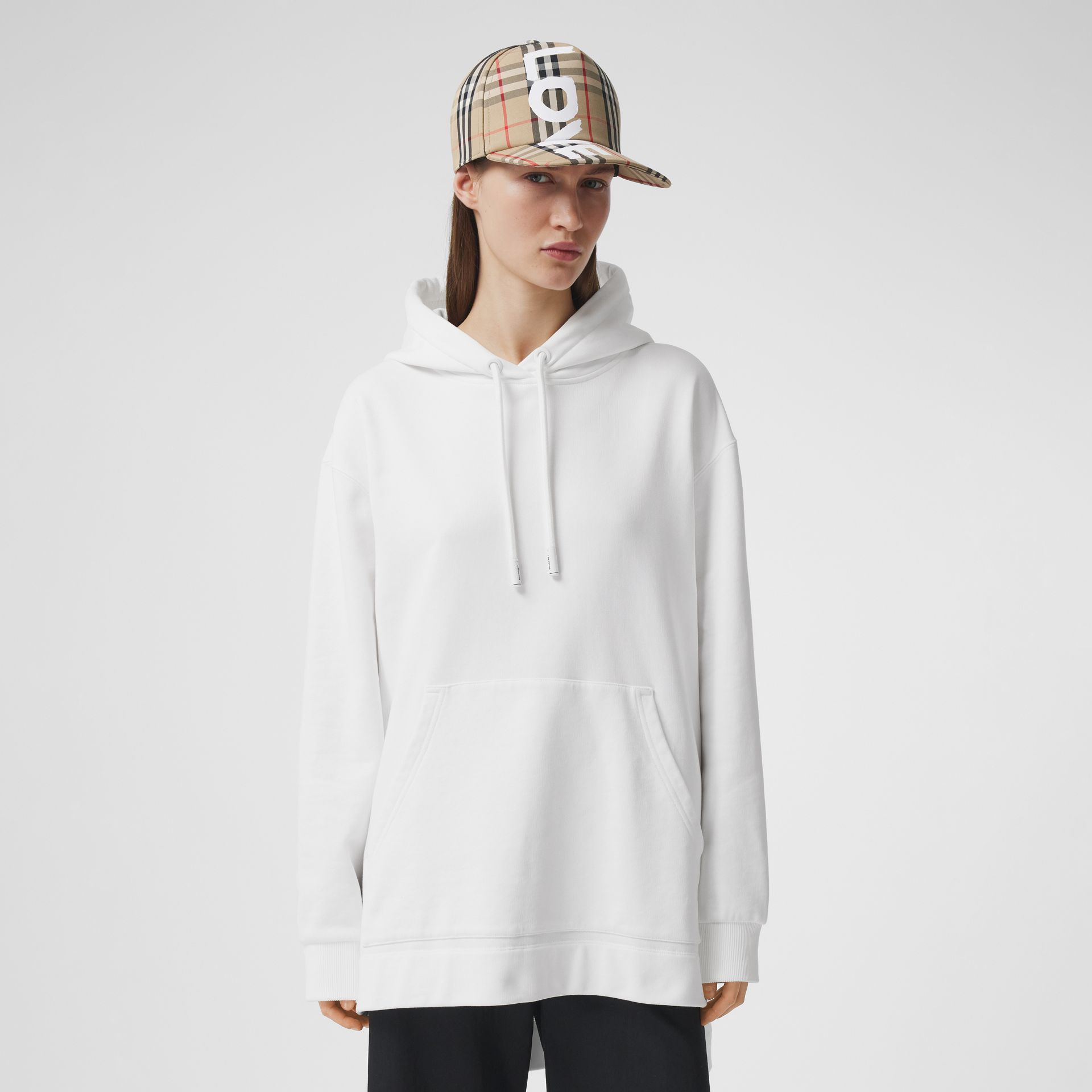 Coordinates Print Cotton Oversized Hoodie in White - Women | Burberry - gallery image 2