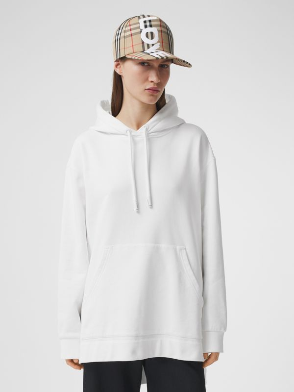 Coordinates Print Cotton Oversized Hoodie in White - Women | Burberry - cell image 2