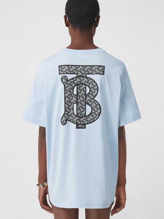 T-shirt oversize in cotone con monogramma (Blu Pallido)