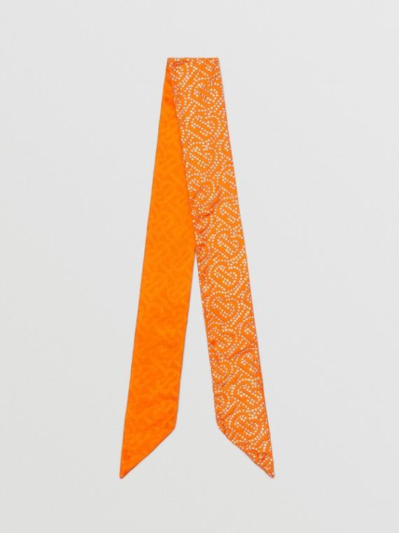 Reversible Crystal Monogram Silk Skinny Scarf in Bright Orange