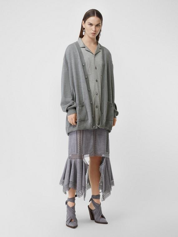 Wool Cardigan Detail Silk Jersey Shirt