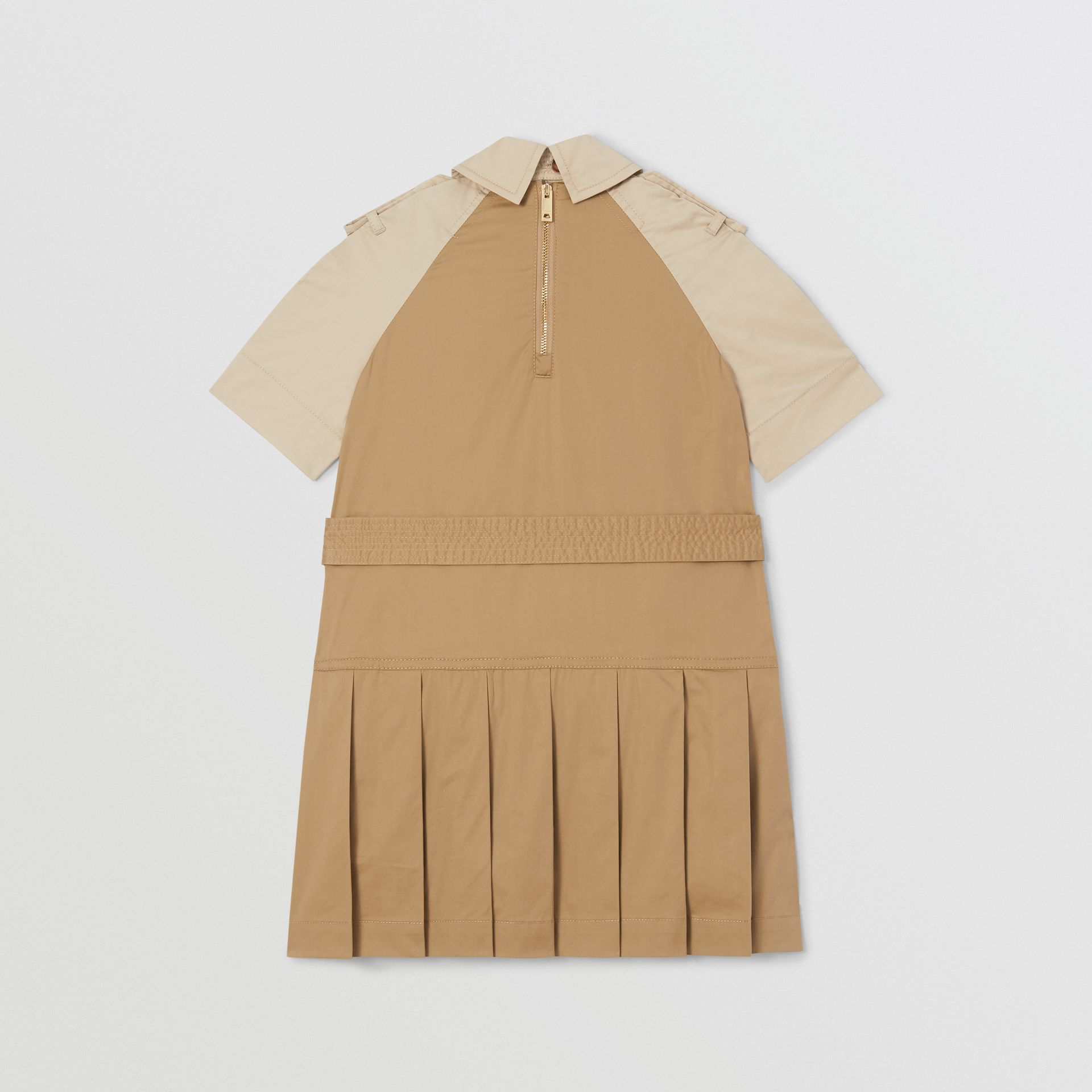 Two-tone Stretch Cotton Belted Trench Dress in Honey | Burberry United Kingdom - gallery image 2