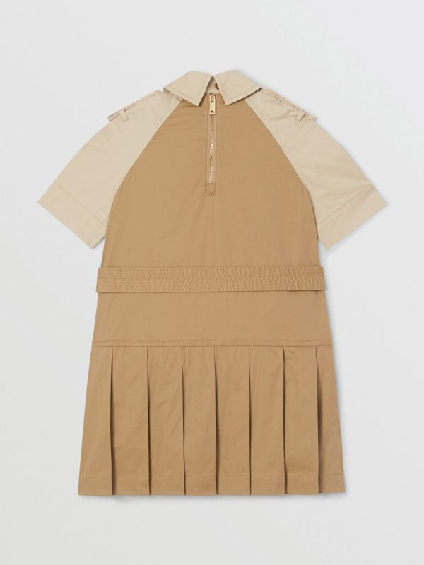 Two-tone Stretch Cotton Belted Trench Dress in Honey | Burberry United Kingdom - cell image 2