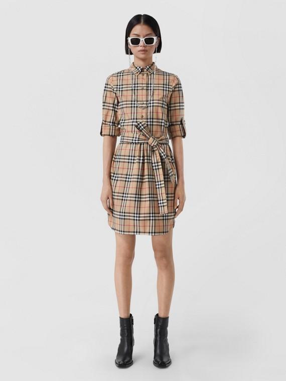 Vintage Check Stretch Cotton Tie-waist Shirt Dress in Archive Beige
