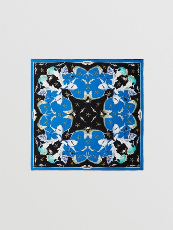 Lenço de seda com estampa de desenhos navais (Azul Azure)