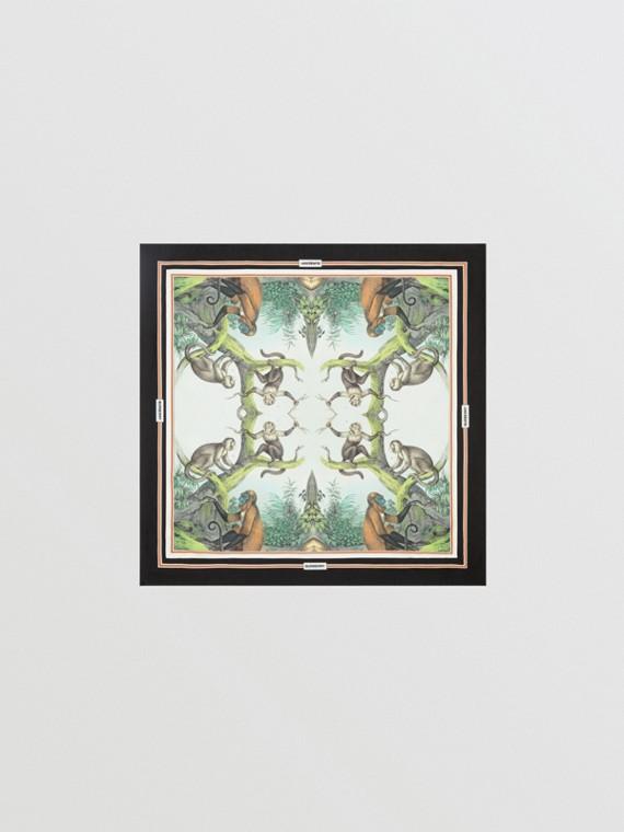 Foulard piccolo in seta con stampa scimmie (Verde Opale Chiaro)