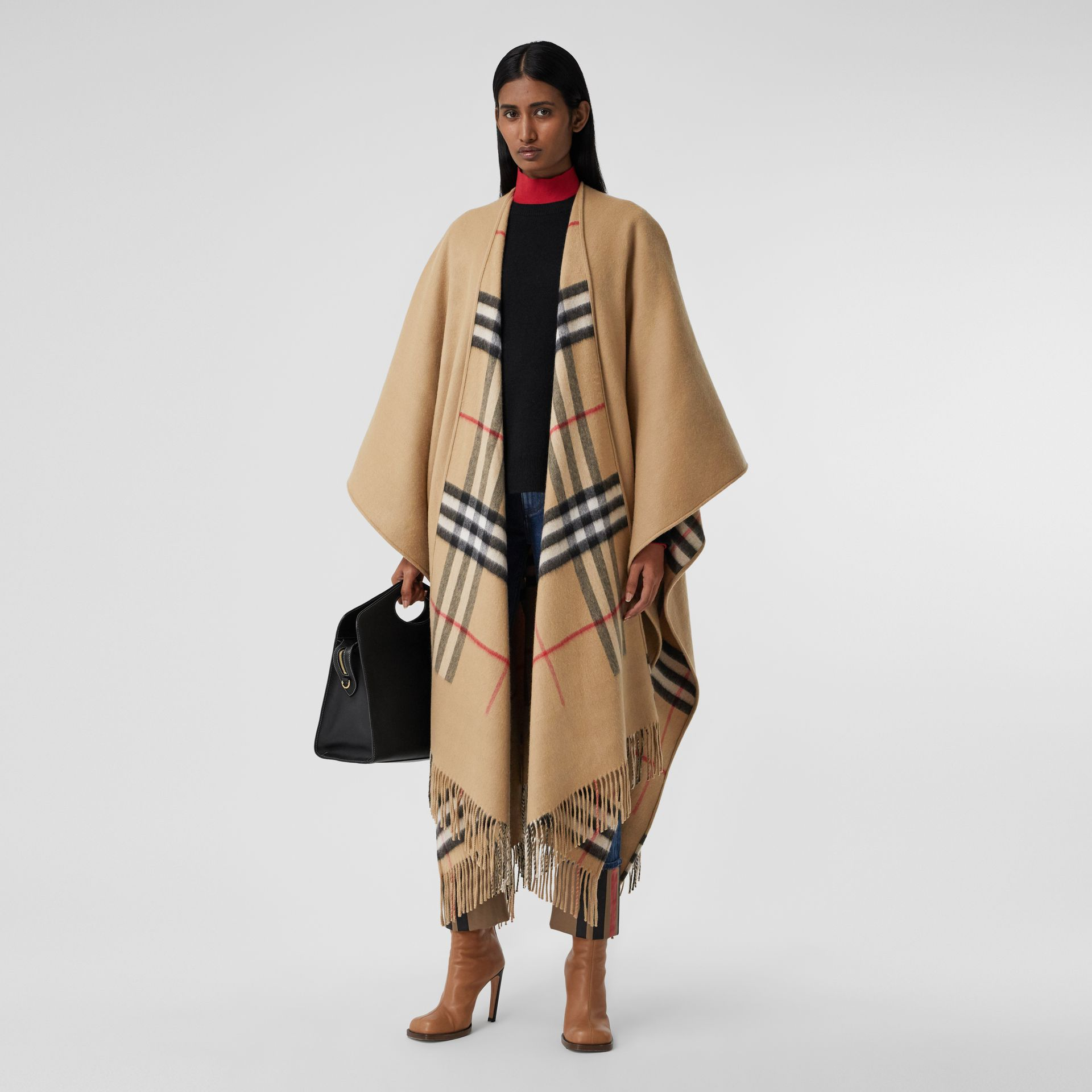 Check-lined Cashmere Merino Wool Cape in Archive Beige - Women | Burberry - gallery image 0