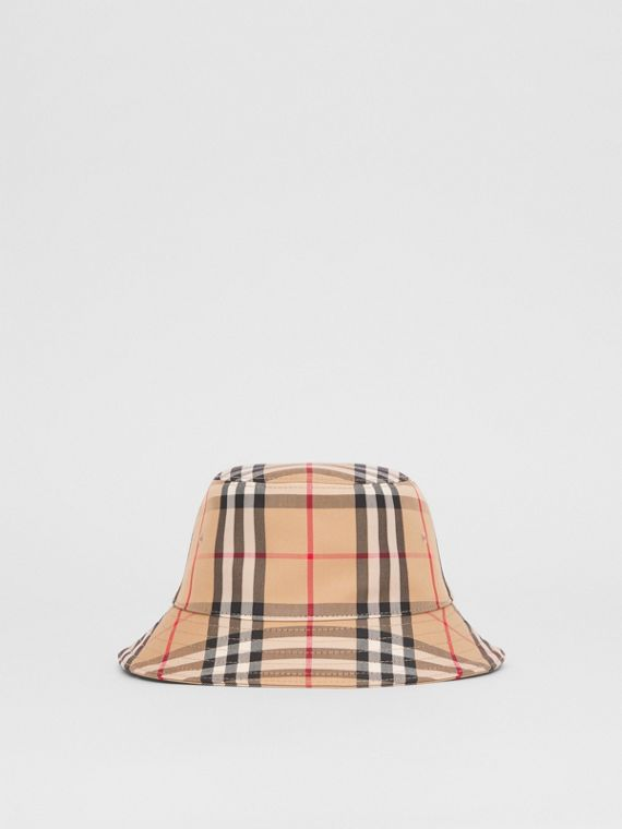 Vintage Check Twill Bucket Hat in Archive Beige