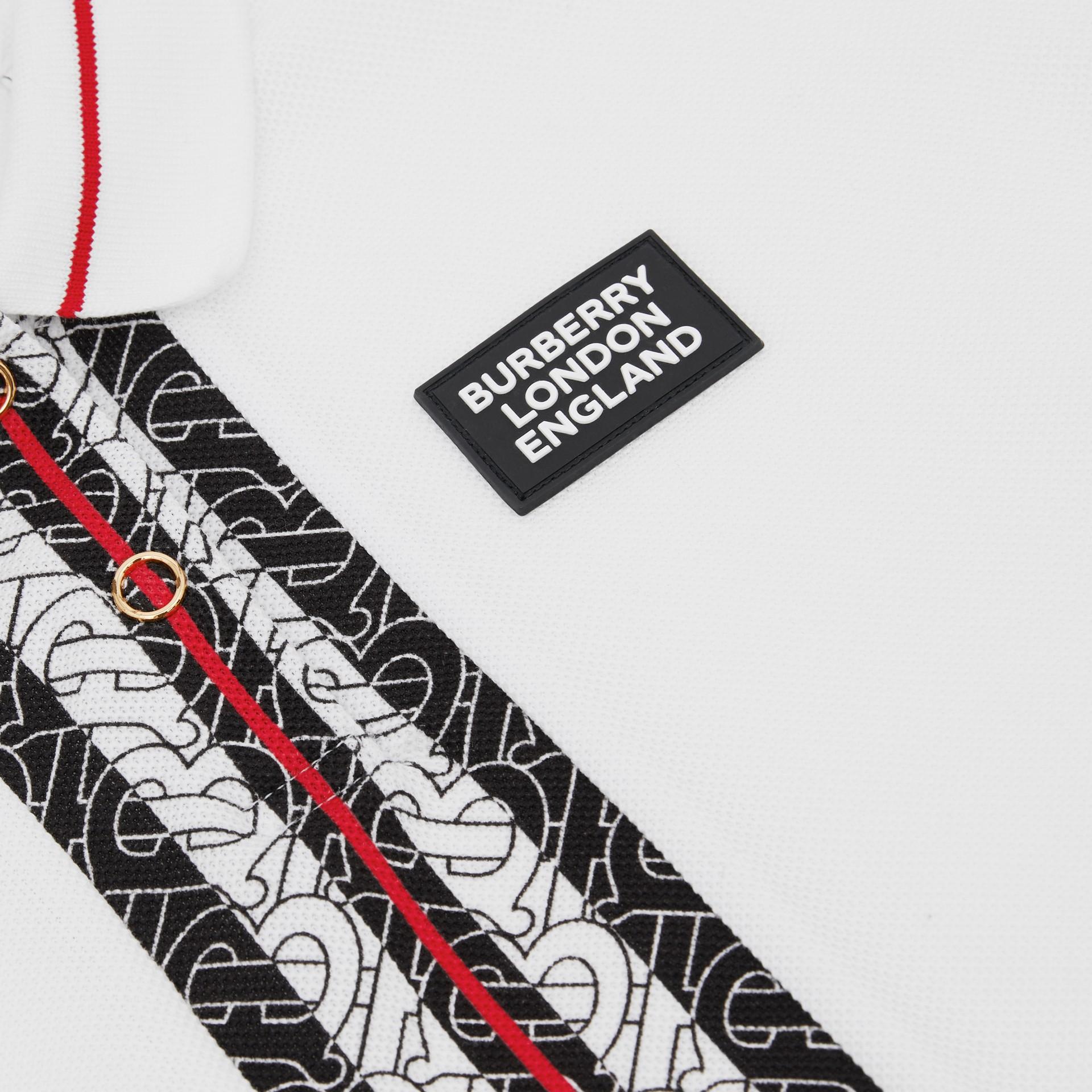 Monogram Stripe Print Cotton Piqué Polo Shirt in White | Burberry United Kingdom - gallery image 1