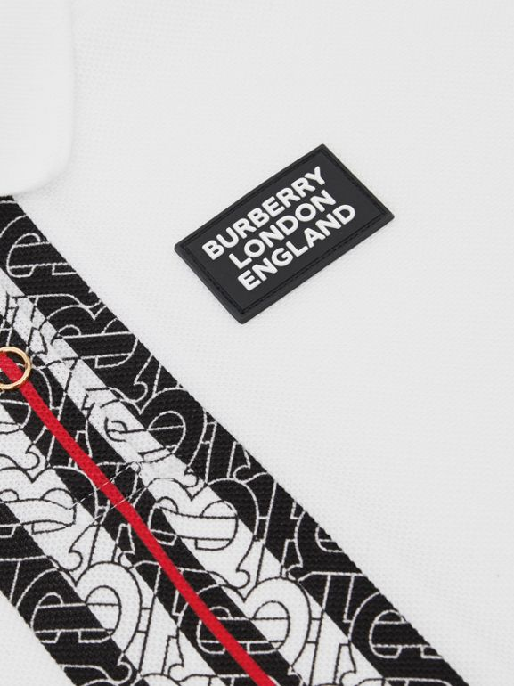 Monogram Stripe Print Cotton Piqué Polo Shirt in White | Burberry United Kingdom - cell image 1